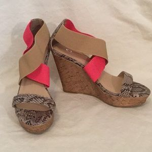 Snakeskin and neon platform sandals
